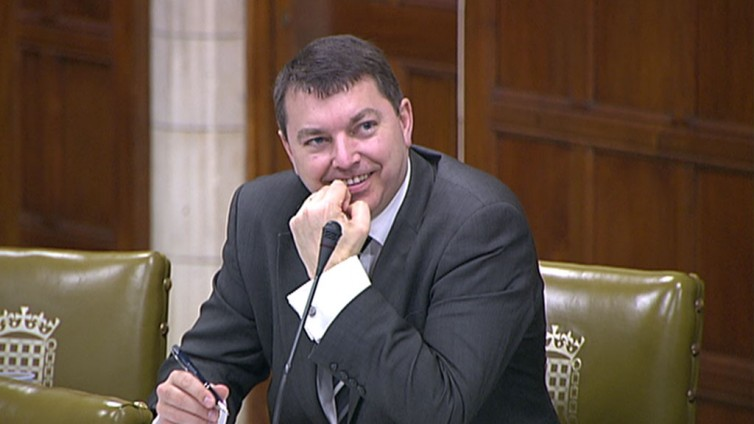 Gary smiling during Westmnister Hall debate