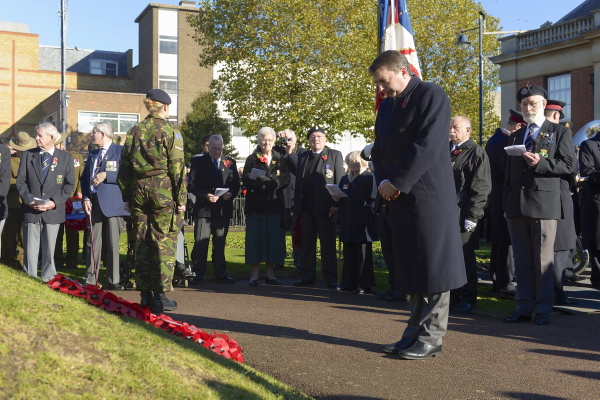 Gareth attending the Remembrance Day Service in Dartford Town Centre (Photo courtesy of the Dartford Messenger) – 10th November 2013
