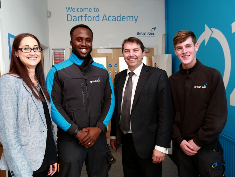 British Gas - Dartford Academy (3) with two apprentices and Academy Manager